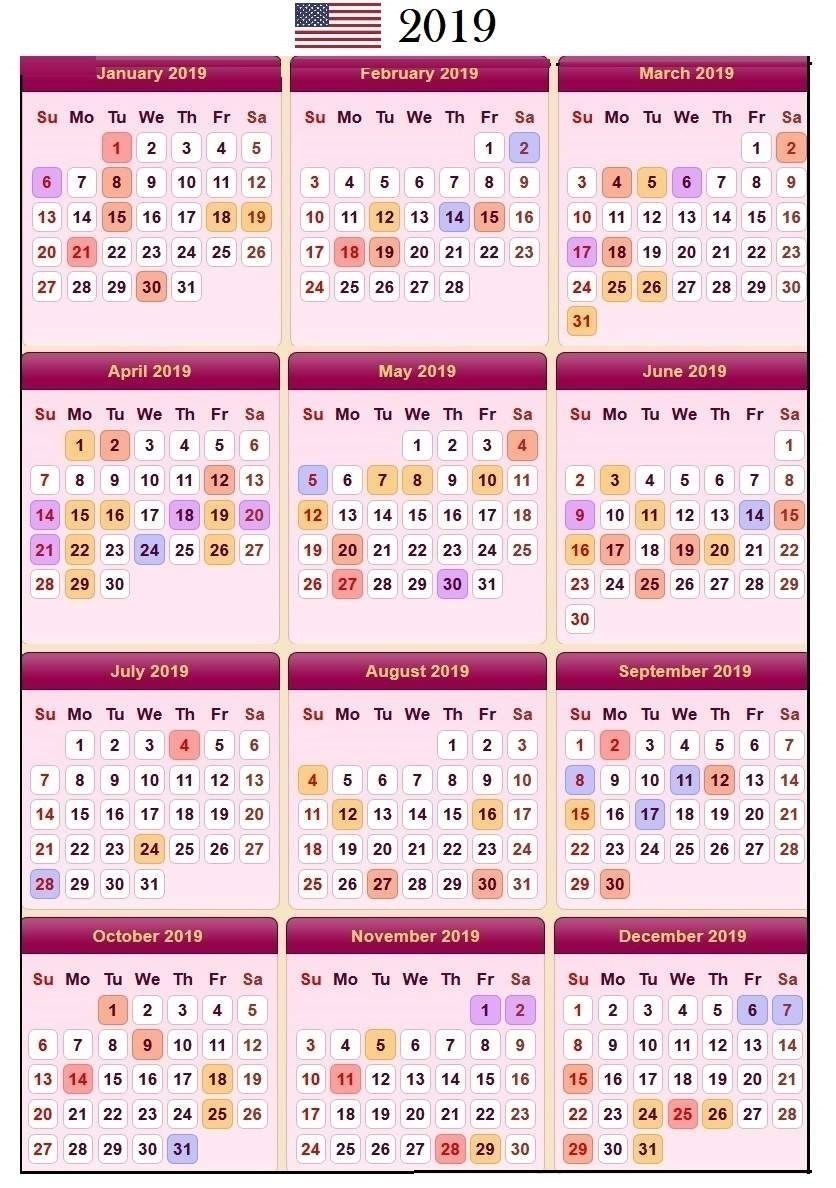 Sweet Sweet Floral Usa 2019 Calendar With Holidays