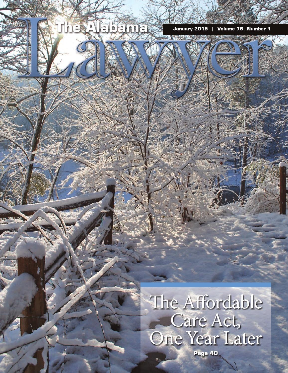 The Alabama Lawyer January 2015 (Reduced Size) By Alabama