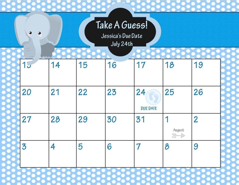 The Guess The Due Date Calendar Template Free Di 2020