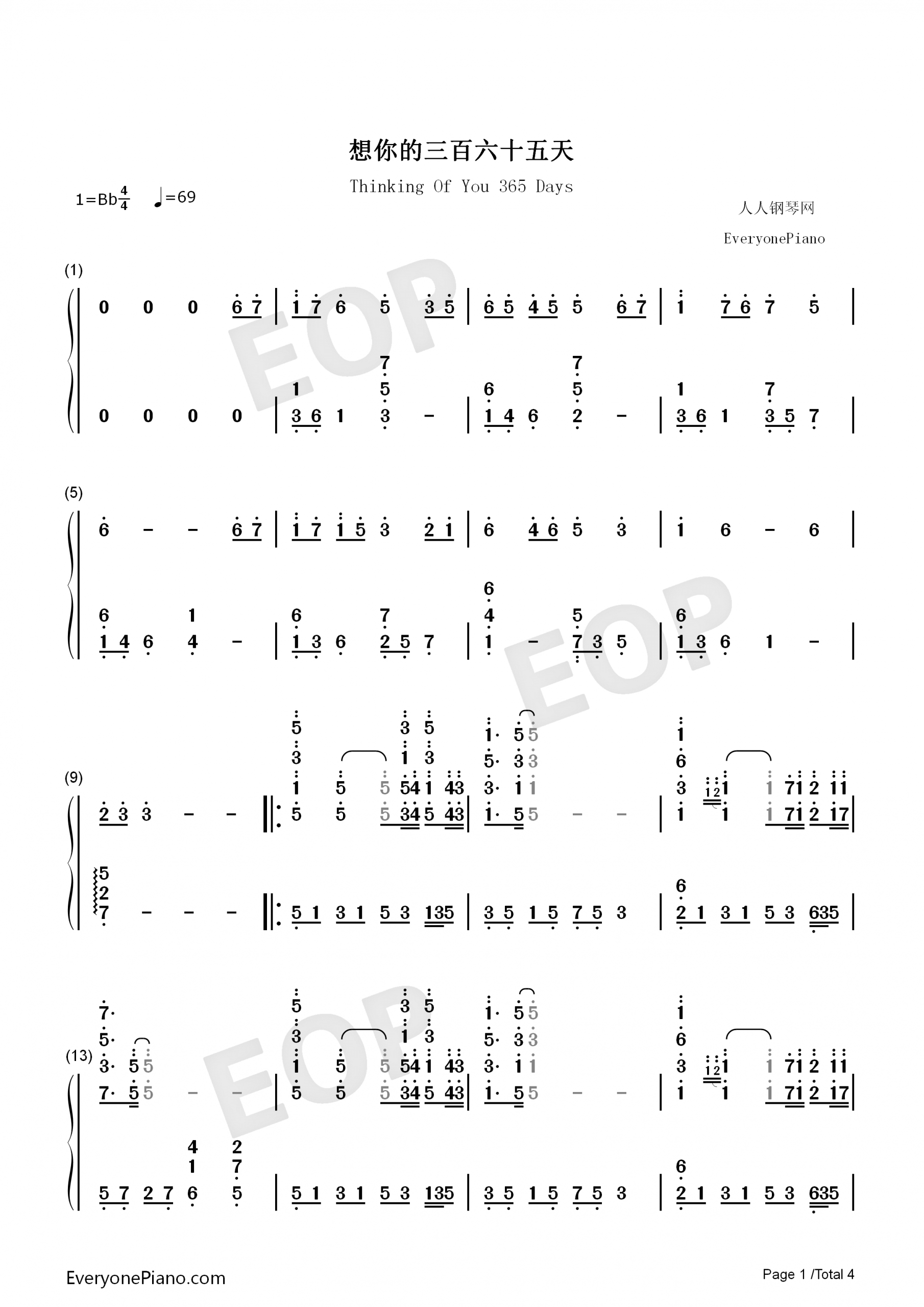 Thinking Of You 365 Days Numbered Musical Notation Preview