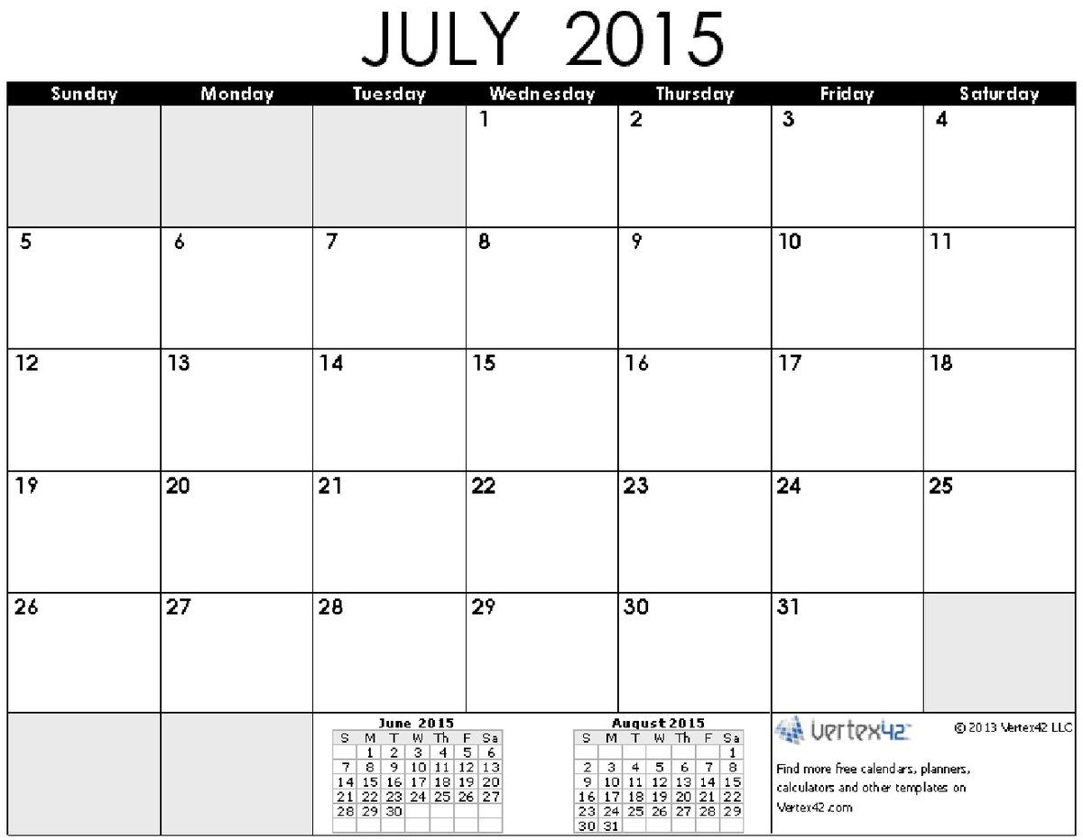 Time And Date July 2015 Calendar Printable | Calendar