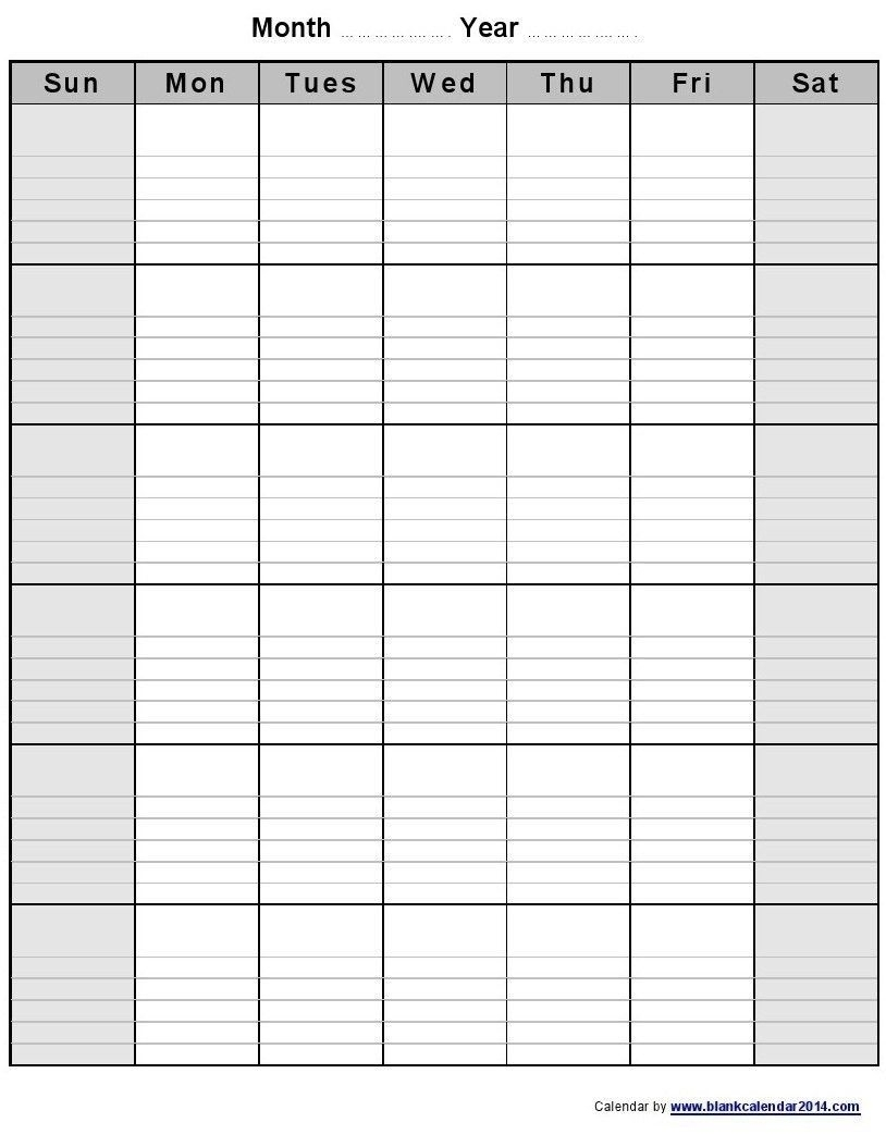 Universal Blank Monthly Calendar With Lines Di 2020