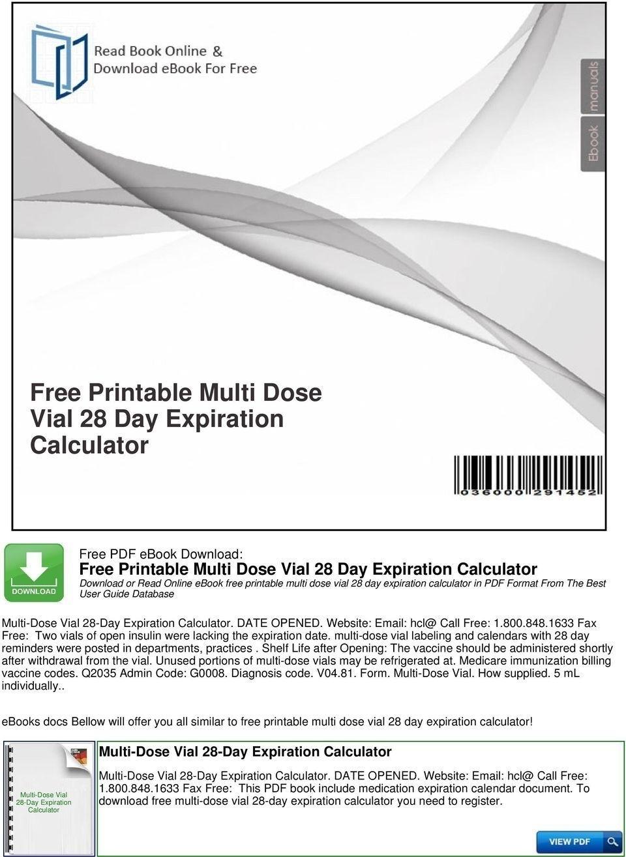 Universal Multidose 28 Day Expiration Date Di 2020