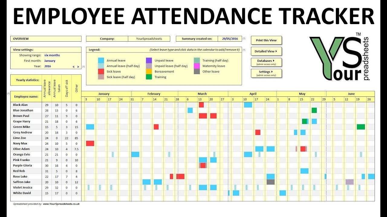 Vacation Tracking Readsheet Tracker Excel Time Free Employee