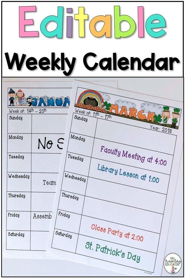 Weekly Calendar Template (Editable) In 2020 | School