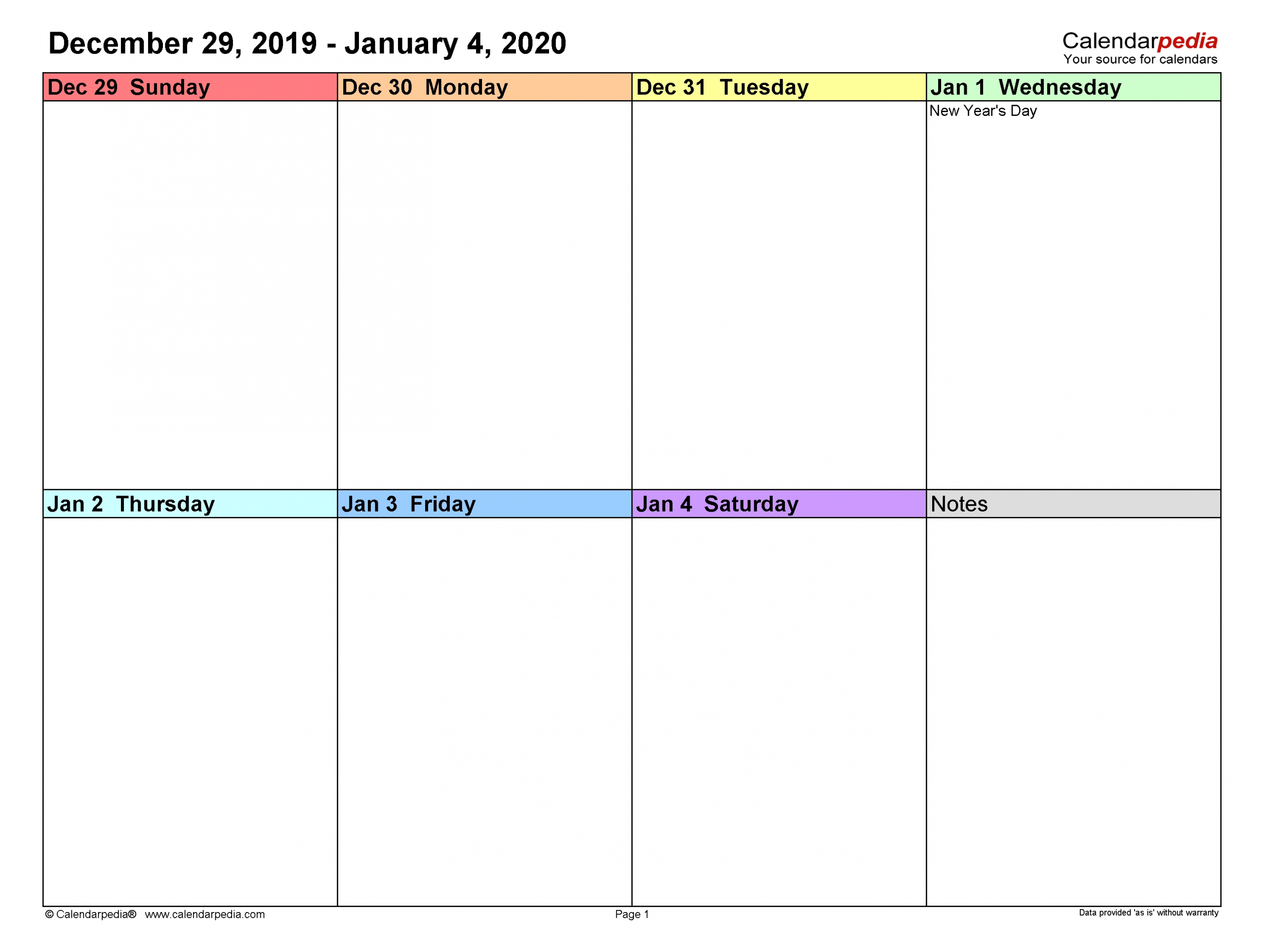 Weekly Calendars 2020 For Word - 12 Free Printable Templates