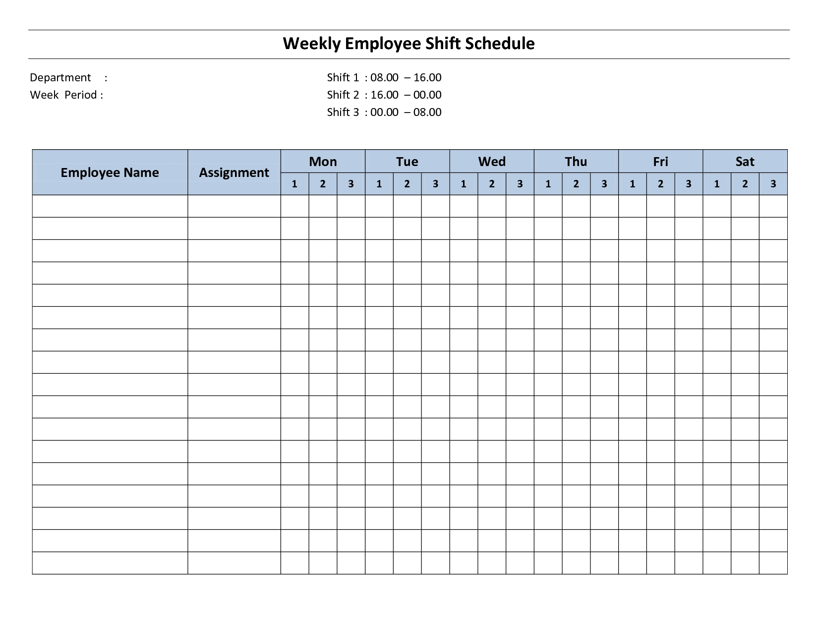 Weekly Employee Shift Schedule - 8 Hour Shift | Cleaning