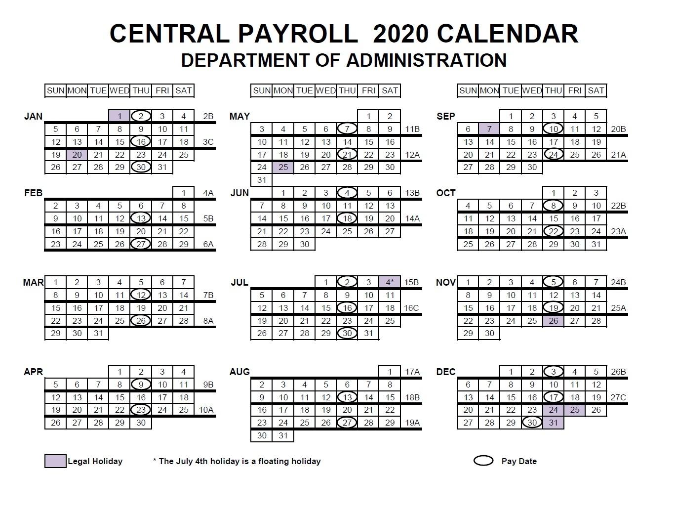 Wi Doa Pay Period Calendar 2021 | 2021 Pay Periods Calendar