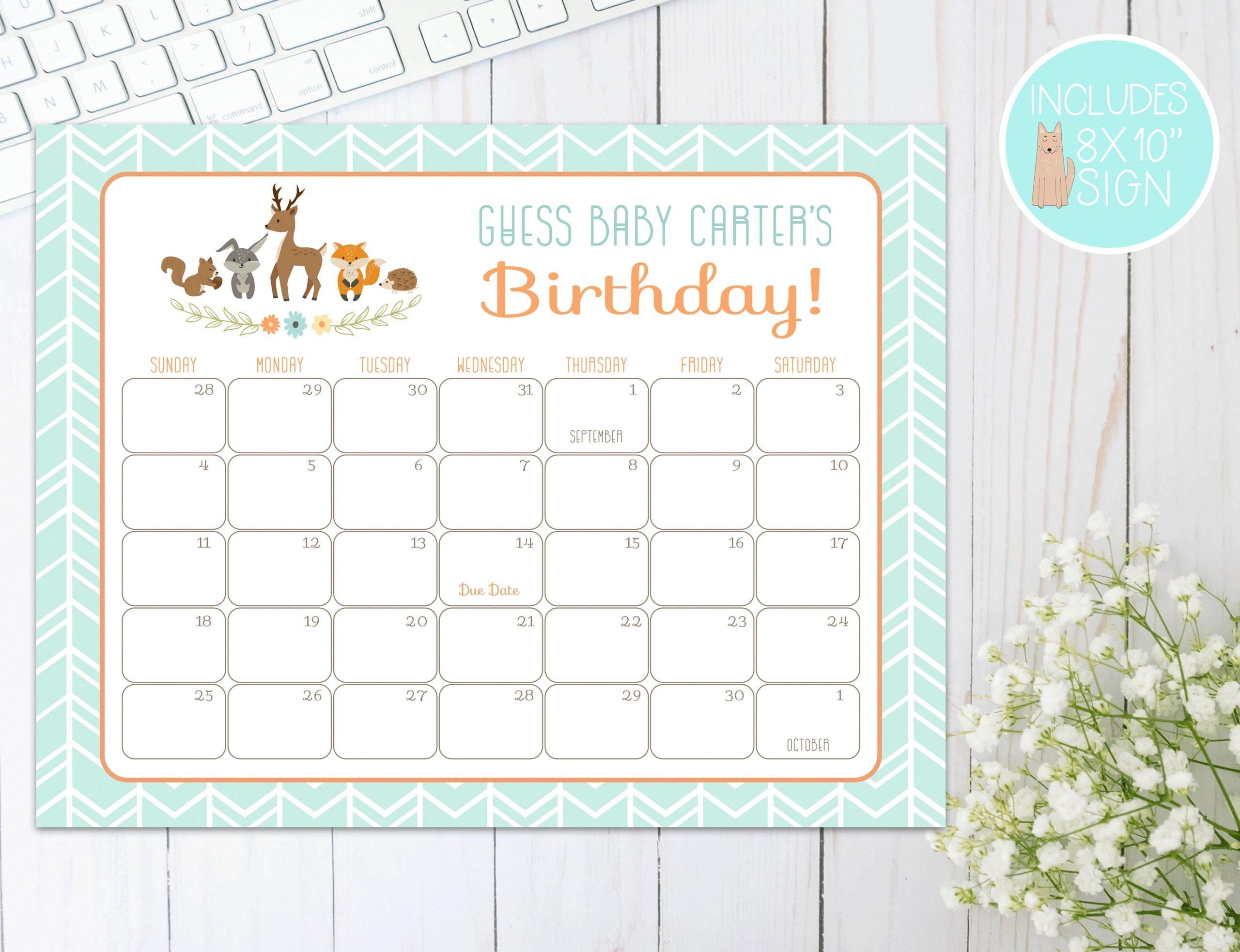 Woodland Baby Shower Due Date Calendar   Prediction Calendar   Guess Baby'S  Birthday   Baby Shower Games, Decorations   Deer, Fox, Rabbit