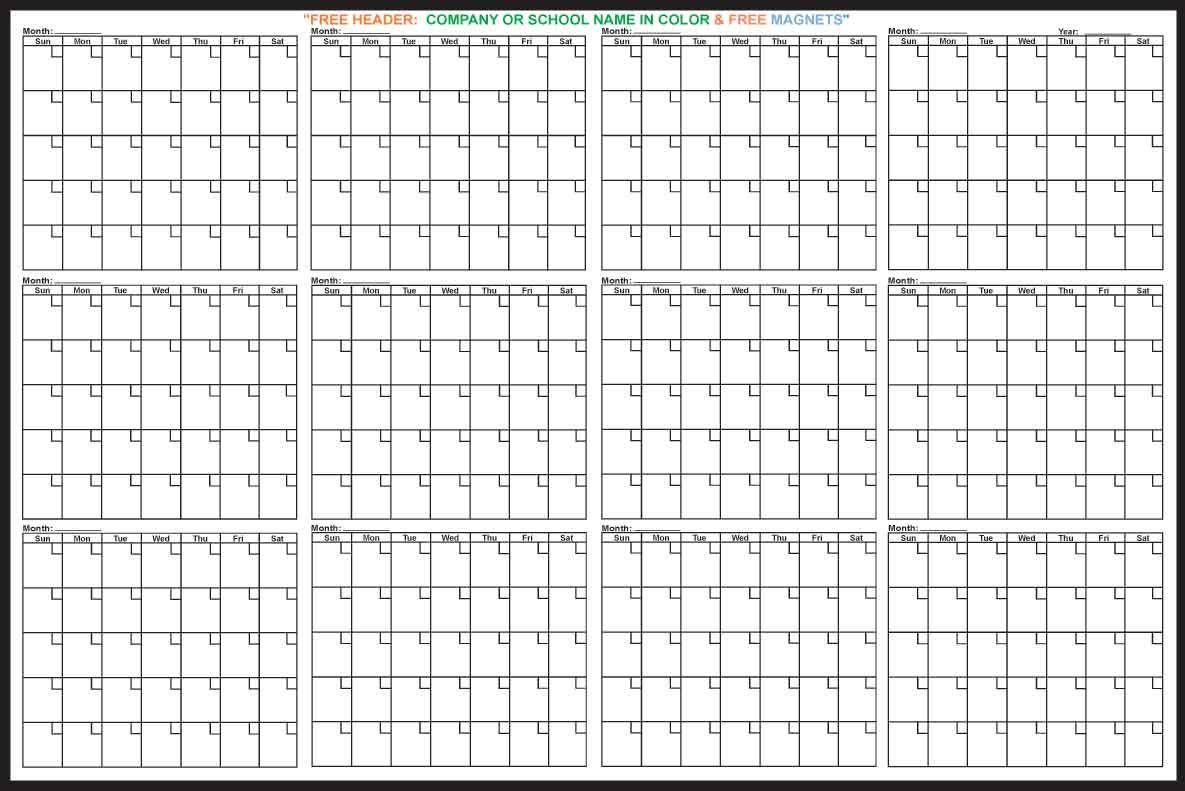 12 Month Calendar | Free Printable Calendar, Free Calendar