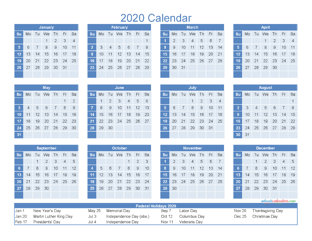 12 Month Printable Calendar 2020 With Holidays - Free
