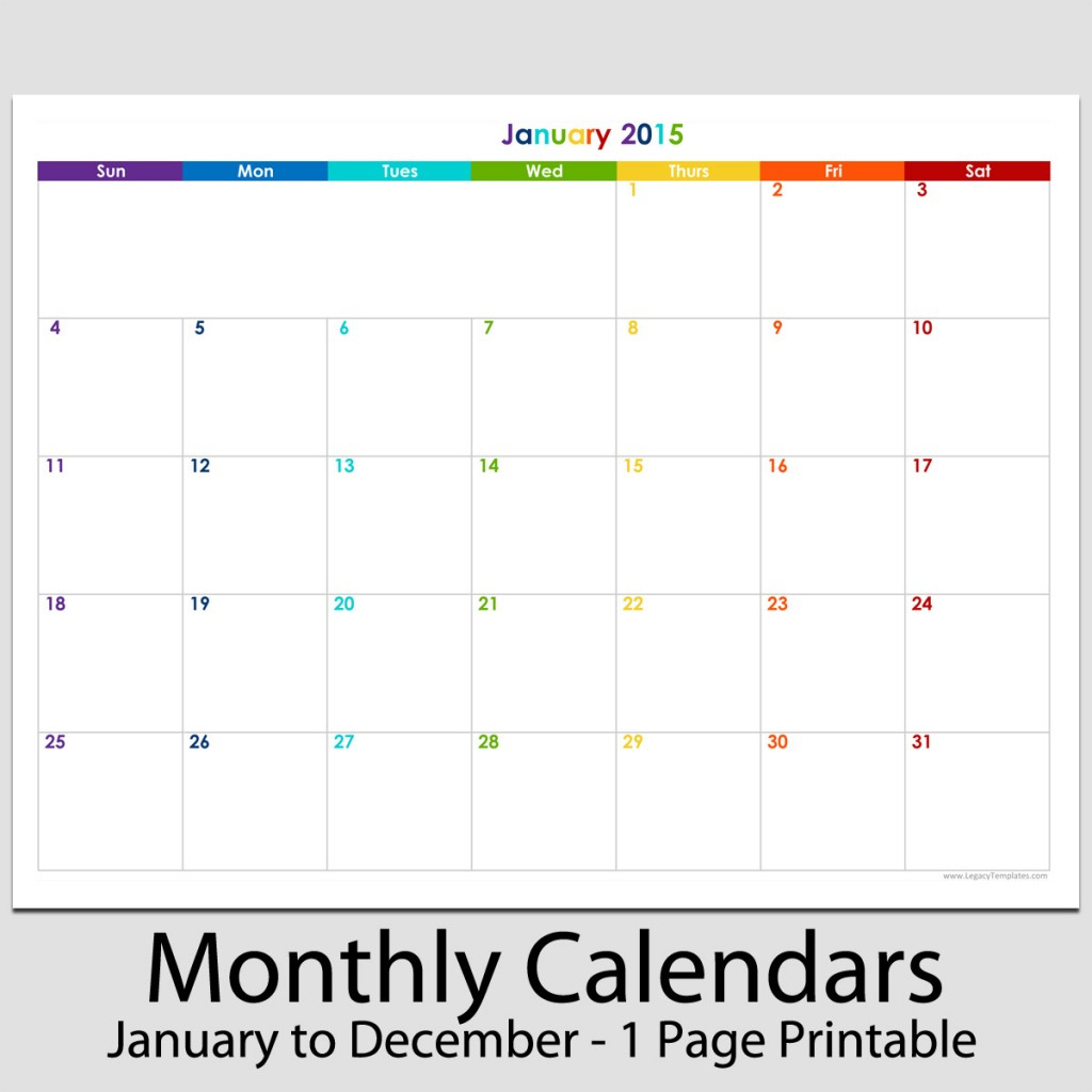 """2015 - 12 Month Landscape Calendar - 8 1/2"""" X 11""""   Legacy"""