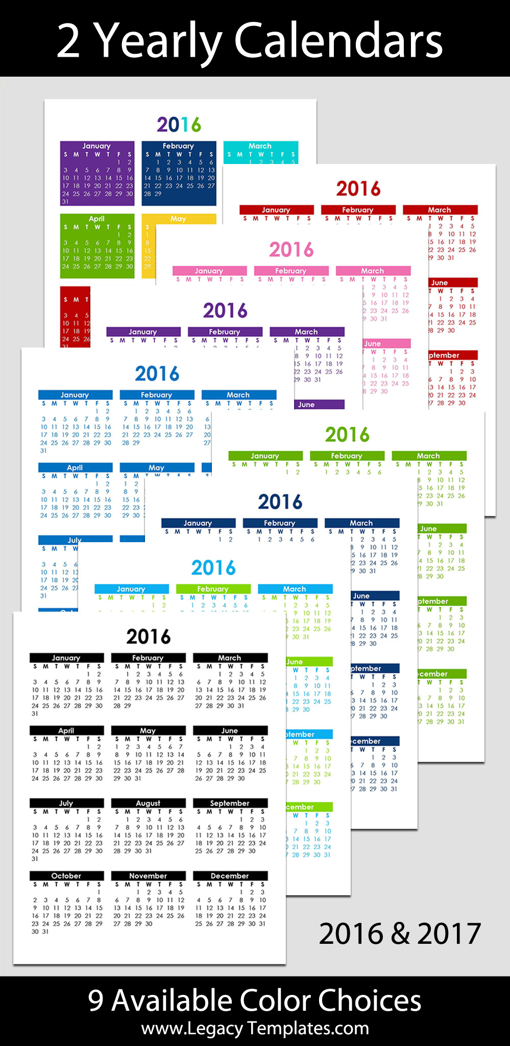 "2016 & 2017 Yearly Calendar - 8 1/2"" X 11"" 