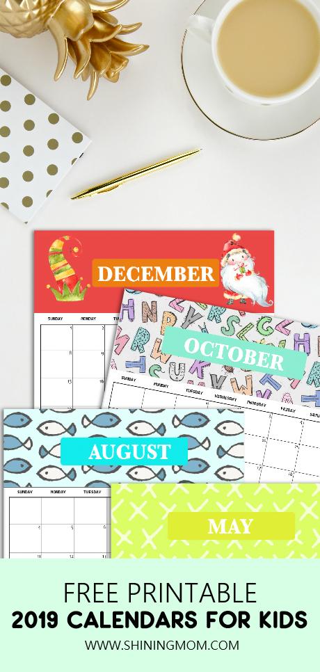 2019 Free Printable Calendar For Kids: Fun, Cute, Colorful