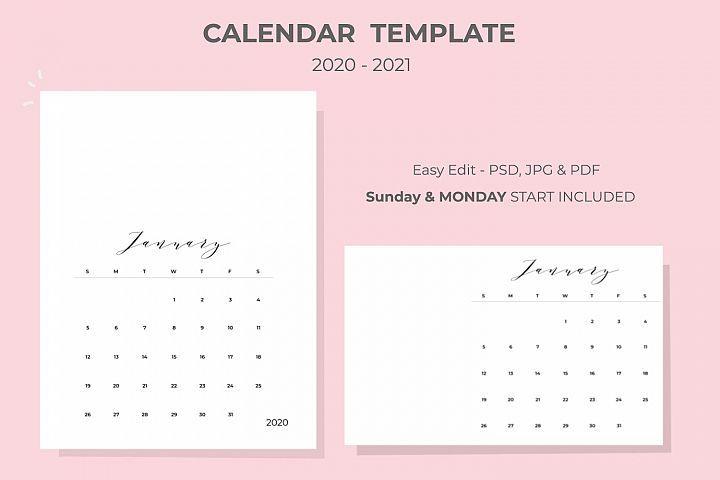 2020-2021 Calendar Template (270128) | Branding | Design