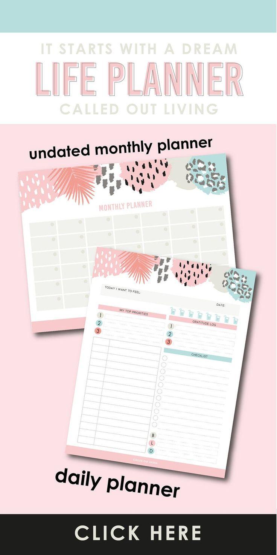 2020 Calendar Printable Undated 90 Day Planner Printable