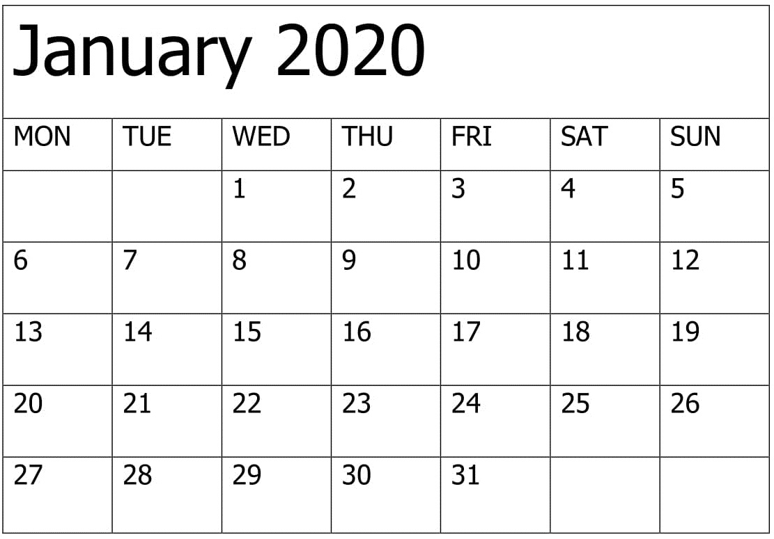 2020 Calendar Template 12 Month | Free Printable Calendar