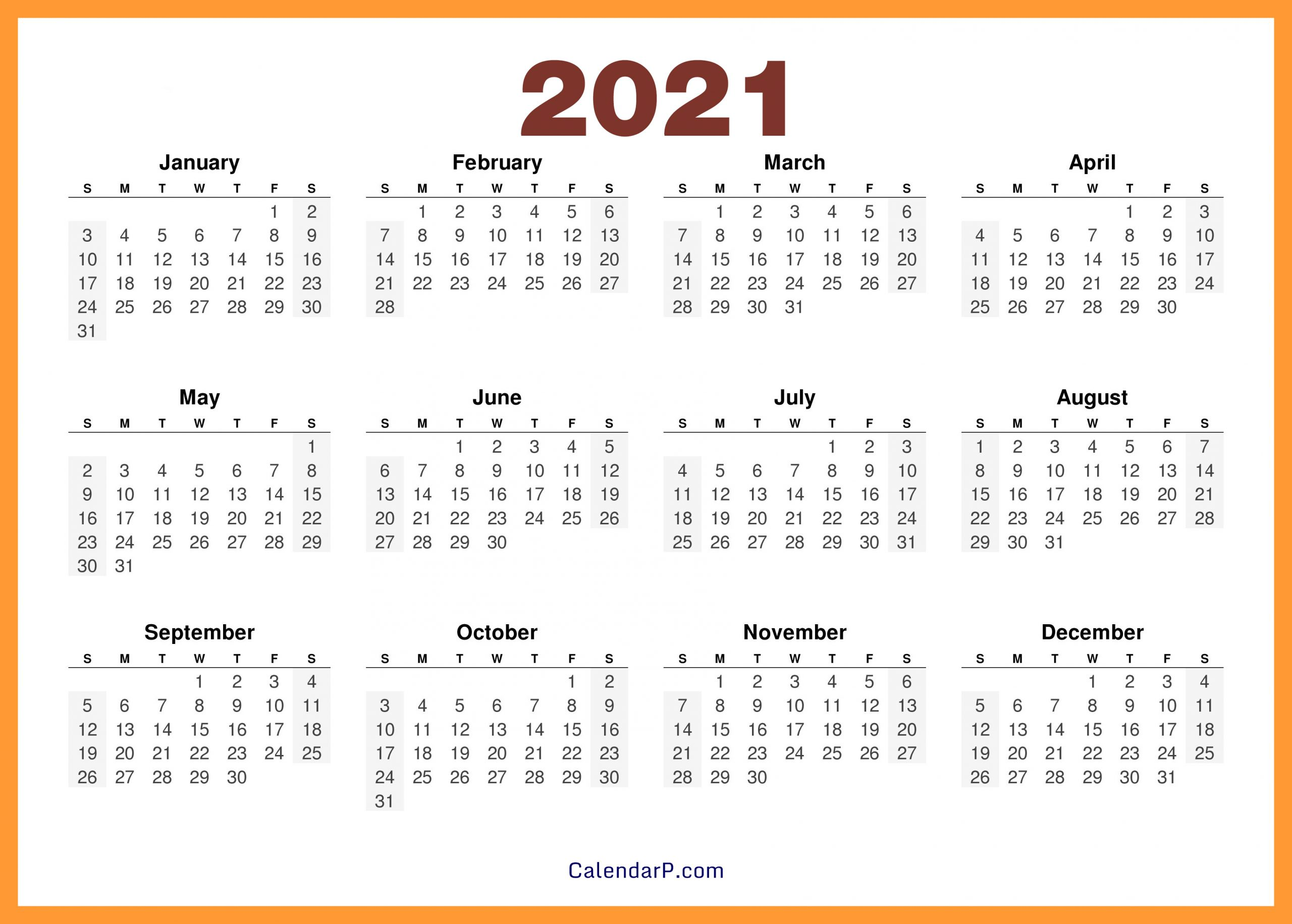2021 Calendar Printable Free, Hd - Orange - Calendarp