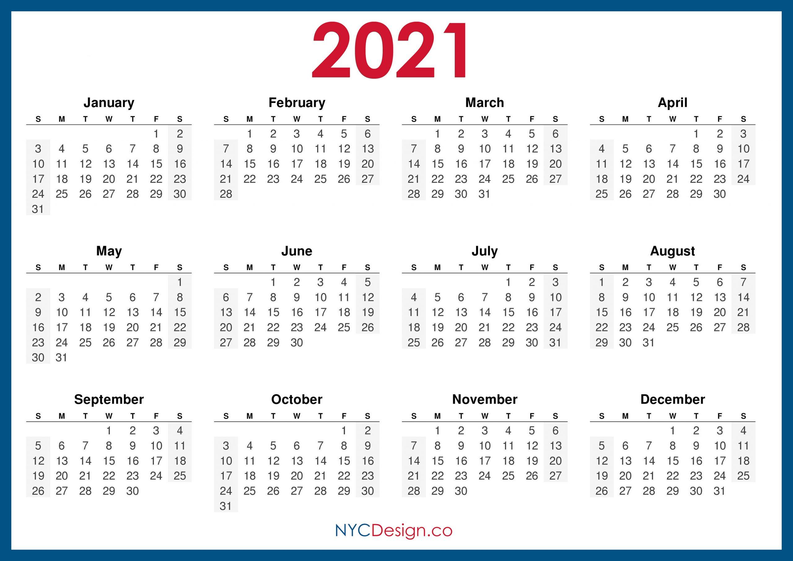 2021 Calendar Printable Free, Horizontal, Blue, Hd