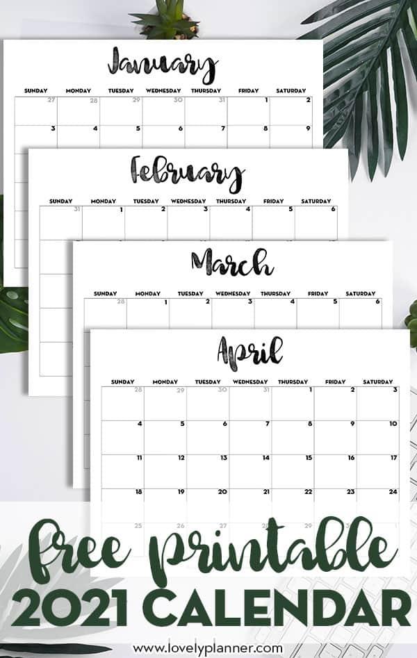 2021 Calendar Printable Free Template - Lovely Planner