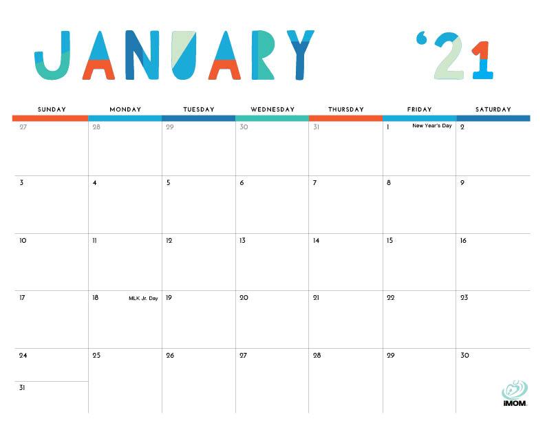 2021 Colorful Printable Calendar For Moms - Imom