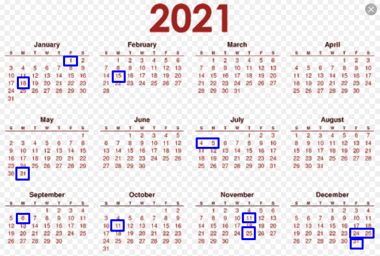 2021 Federal Holiday Calendar - List Of United States