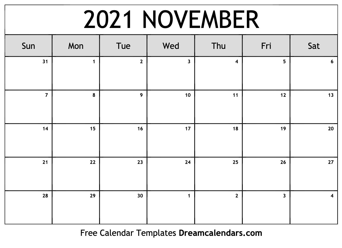 2021 Free Printable Calendars Without Downloading November