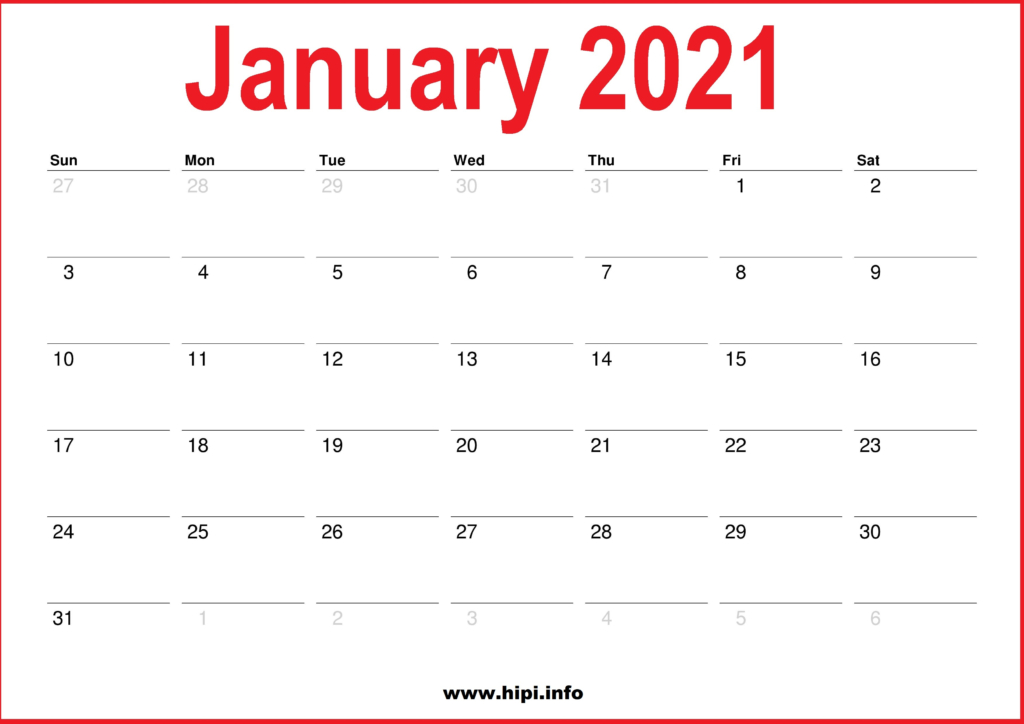 2021 January Calendar Printable - Monthly Calendar - Hipi