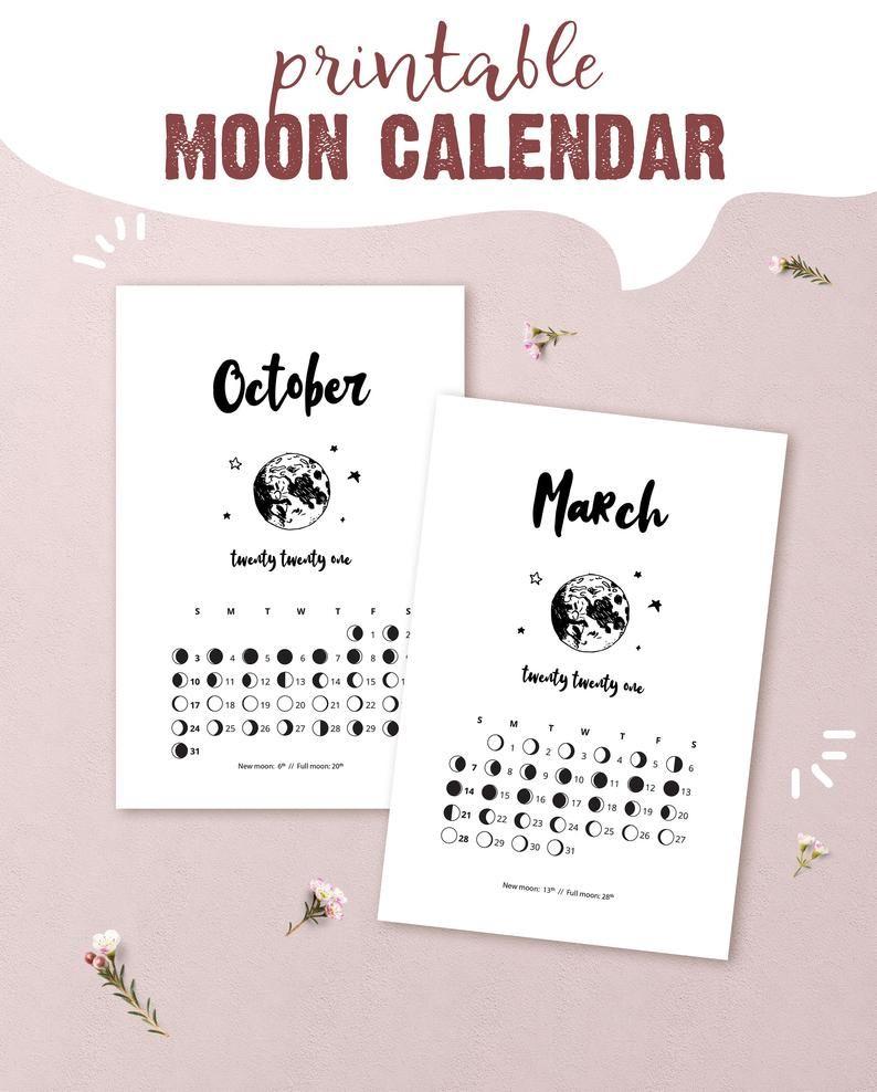 2021 Printable Lunar Calendar Moon Phase Calendar For