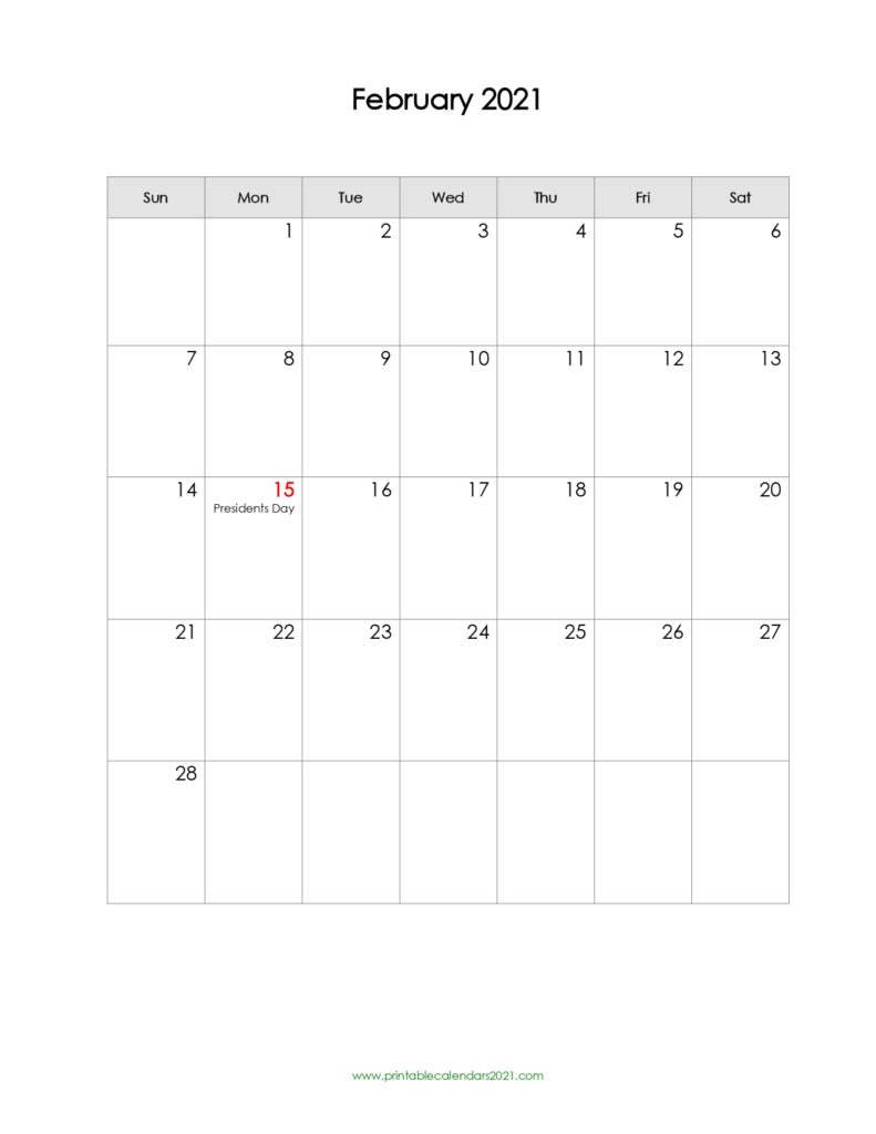 65+ Free February 2021 Calendar Printable With Holidays