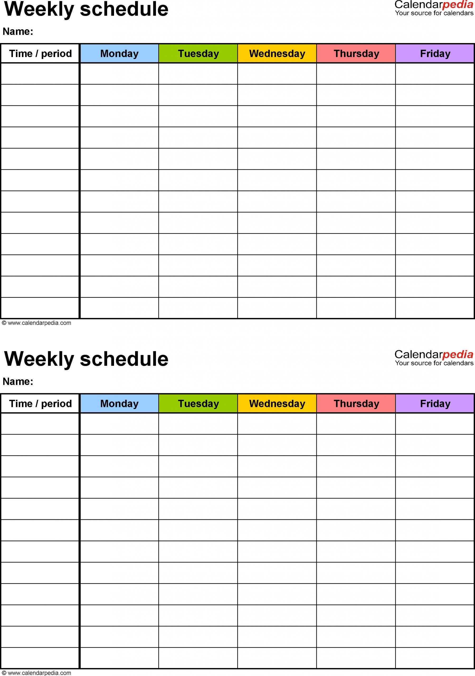 7 Day Calendar Template Excel | Free Calendar Template Example