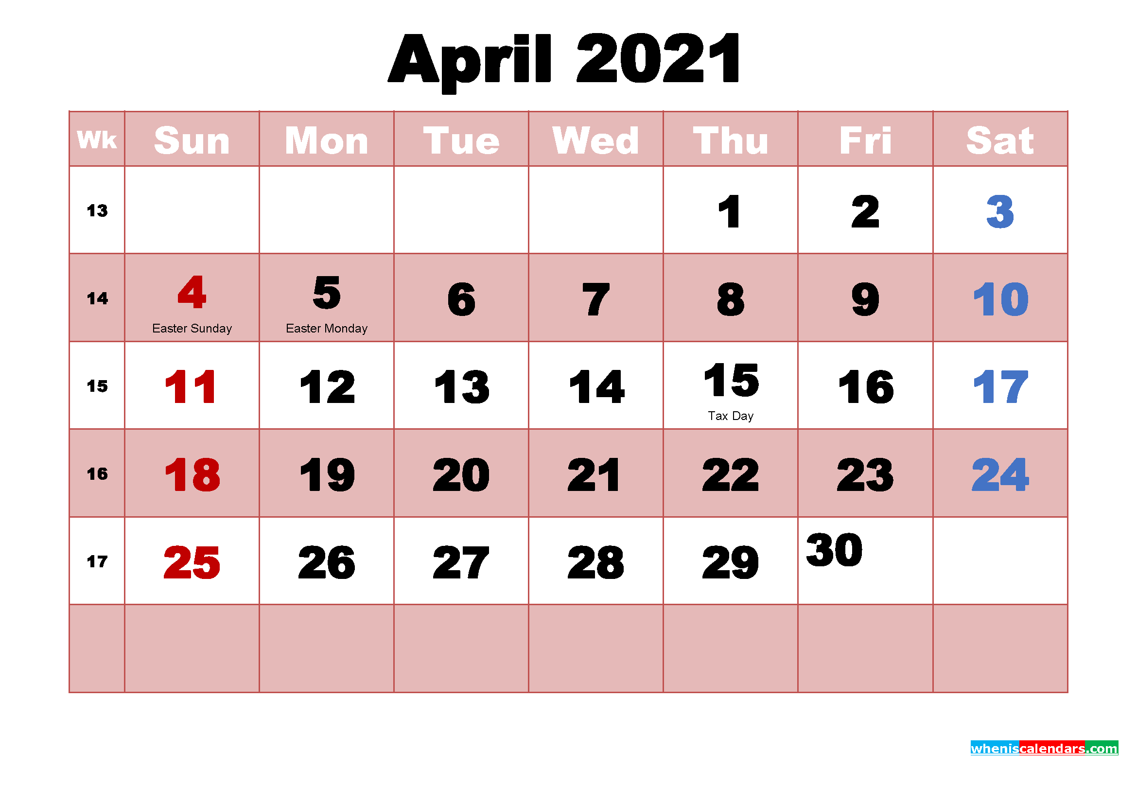 April 2021 Printable Monthly Calendar With Holidays | Free