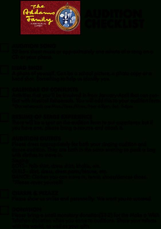 Audition Checklist - Penn-Trafford High School Drama Guild