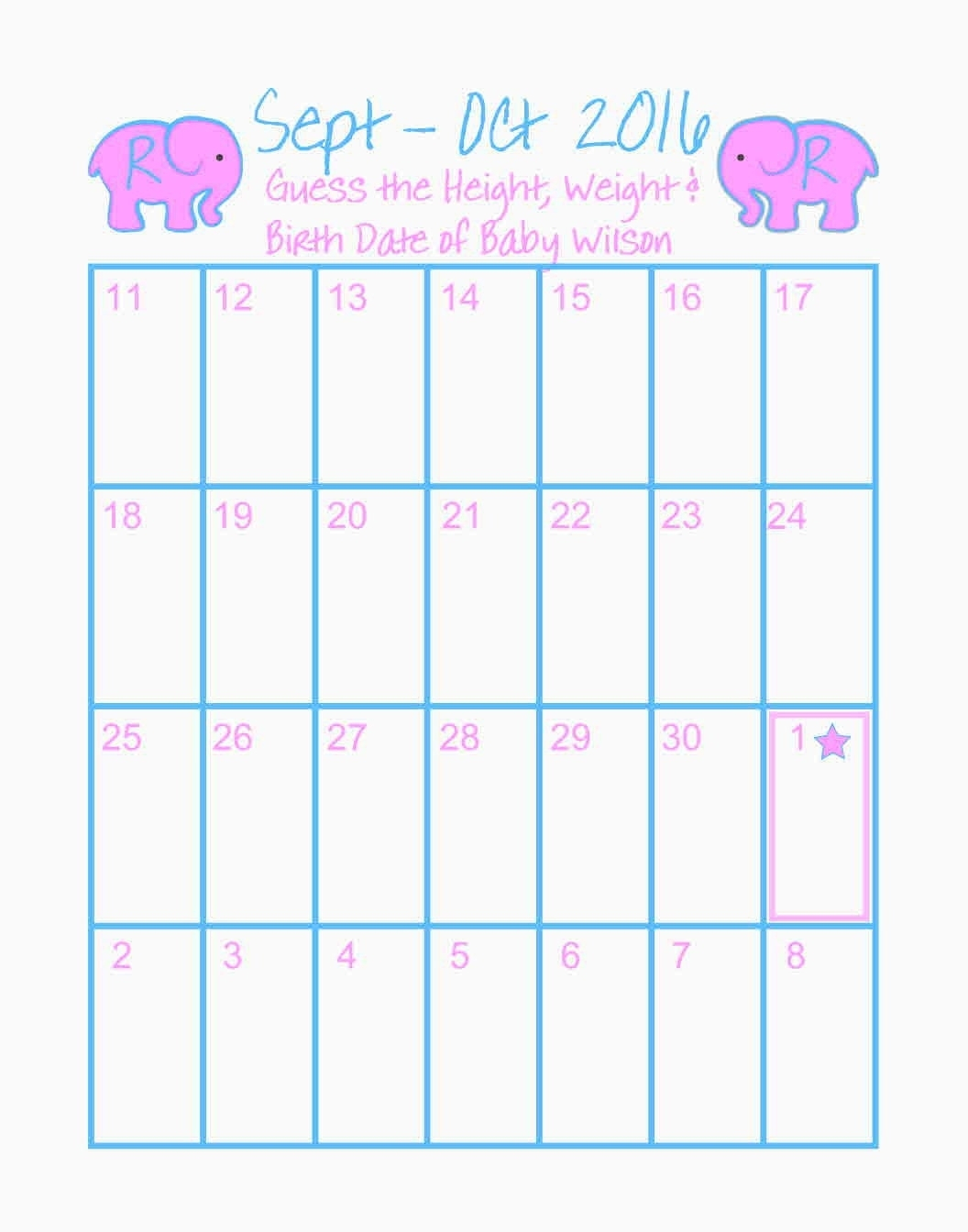 Baby Calendar Free Guess | Printable Calendar Template 2021
