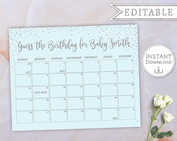 Baby Due Date Calendar, Guess Babys Birthday, Baby Boy
