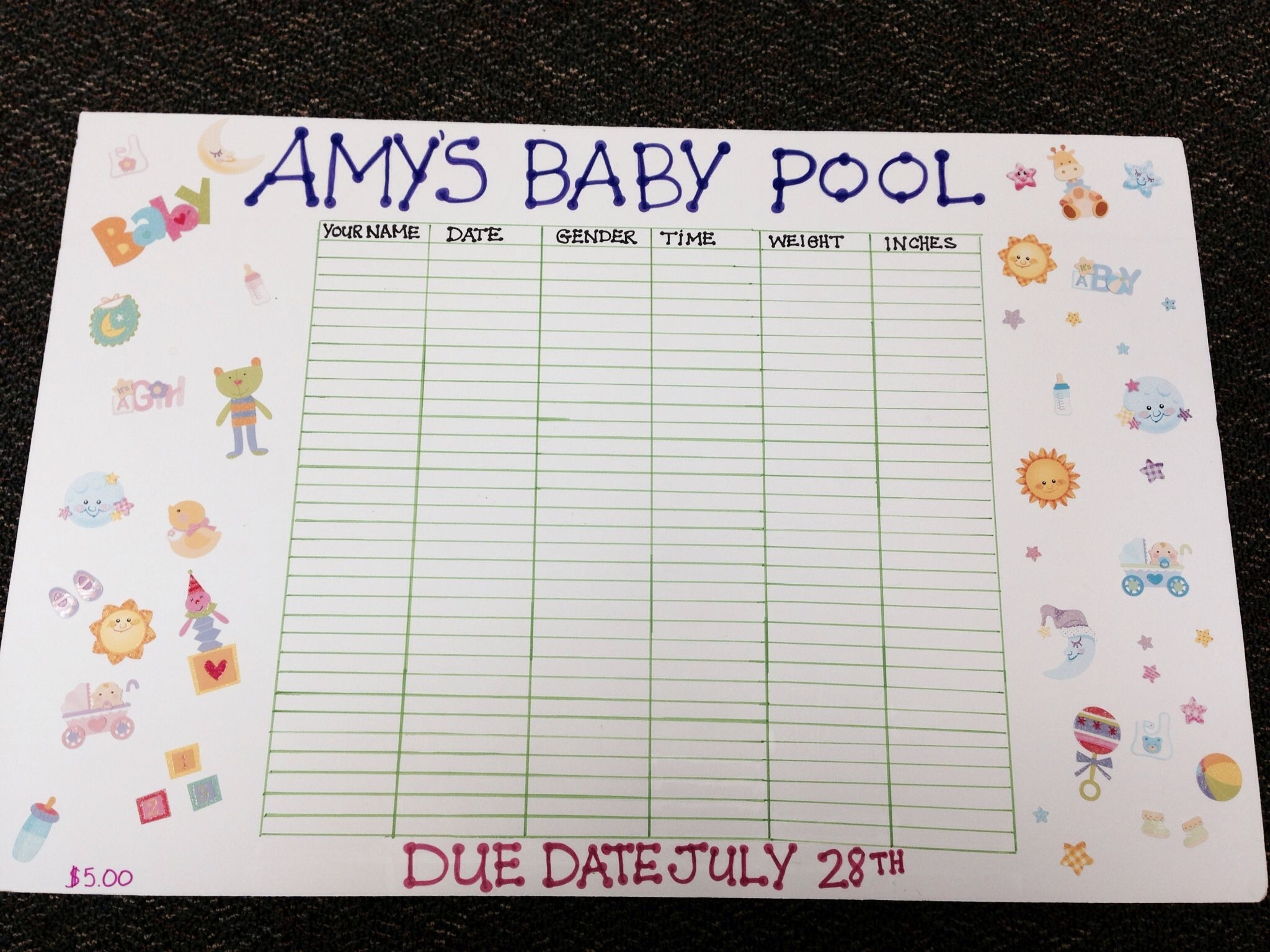 Baby Due Date Prediction Game Template | Calendar Template