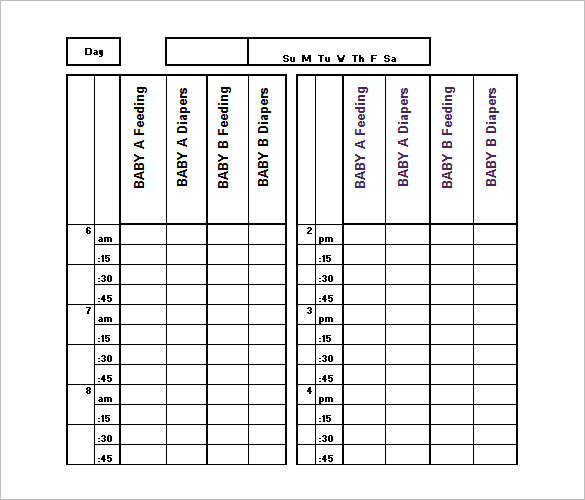 Baby Schedule Template For Nanny - Printable Schedule Template
