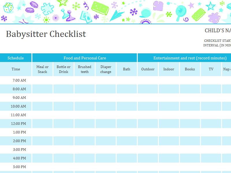 Babysitter Checklist With Schedule | Printable Medical