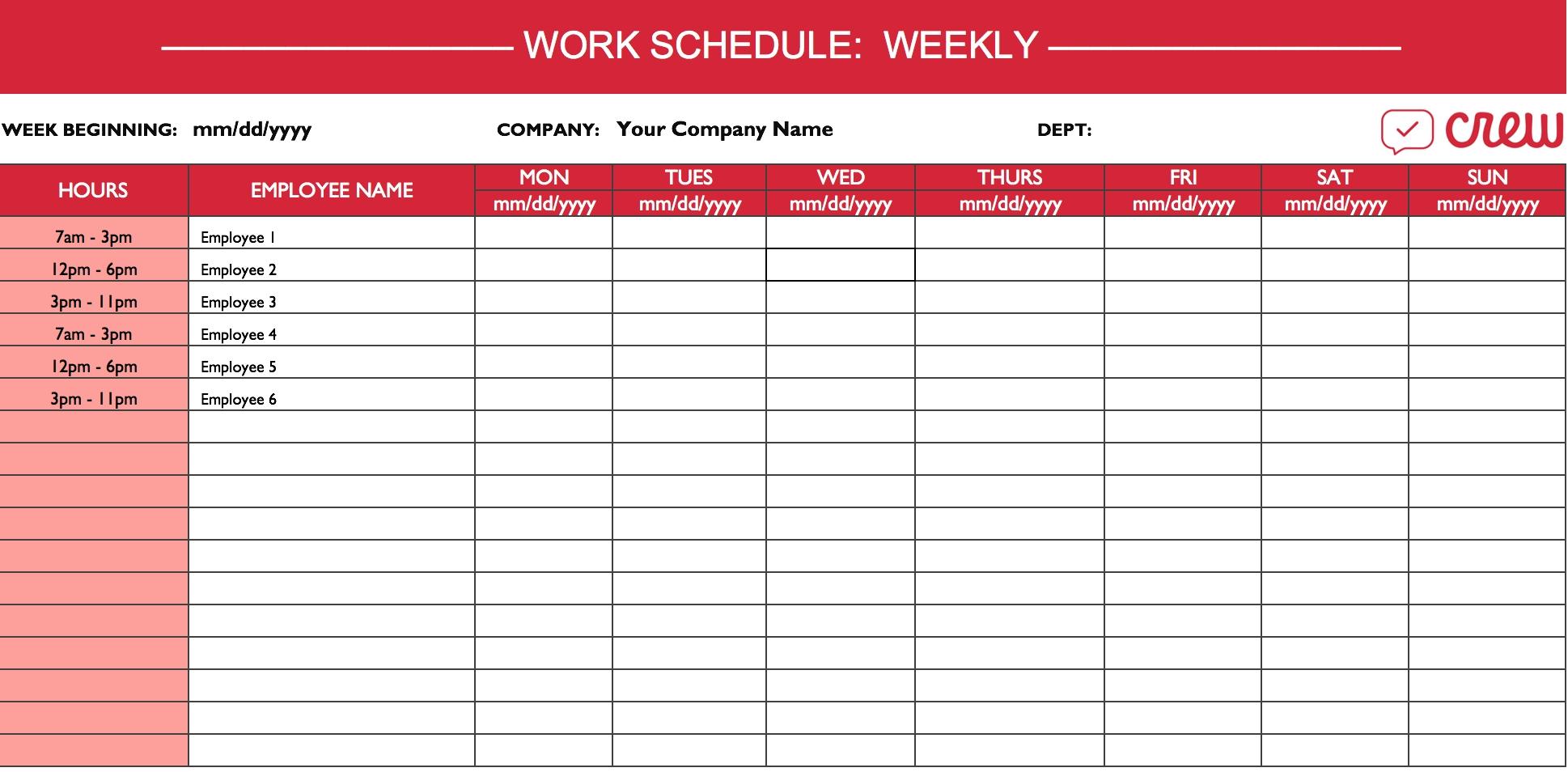 Best Editable Two Week Employee Schedule | Get Your