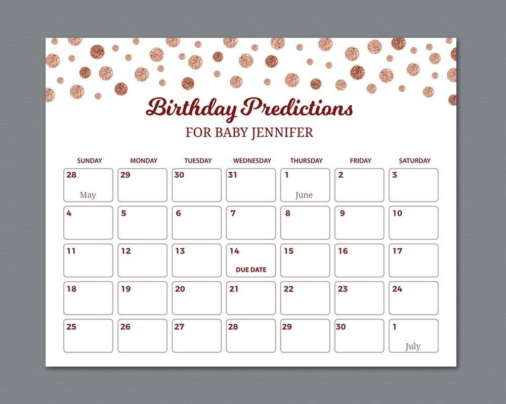 Best Guess The Due Date Calendar   Get Your Calendar Printable