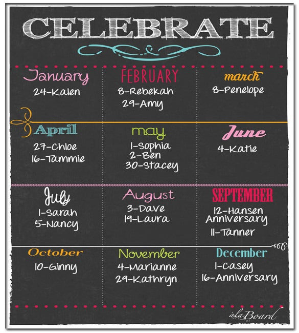 Birthday Calendar - Calendar Template   Free & Premium