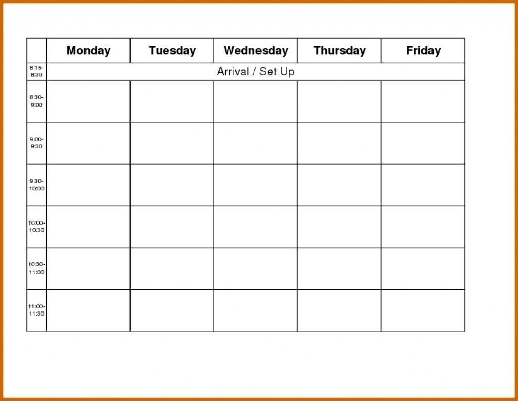 Blank Weekly Monday Through Friday Calendar Template