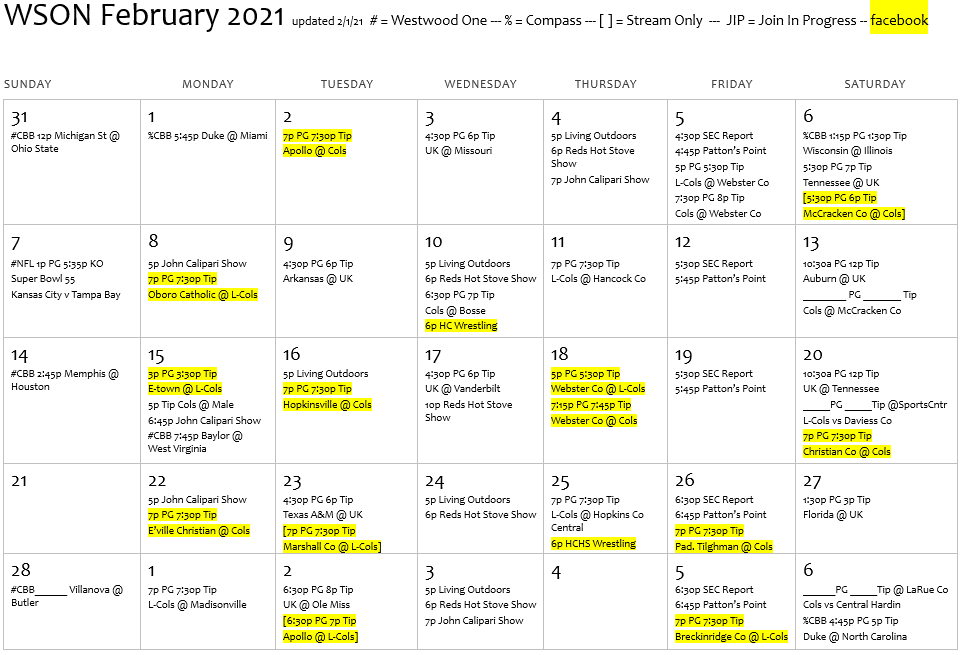 Broadcast Schedule   Wson Am & Fm