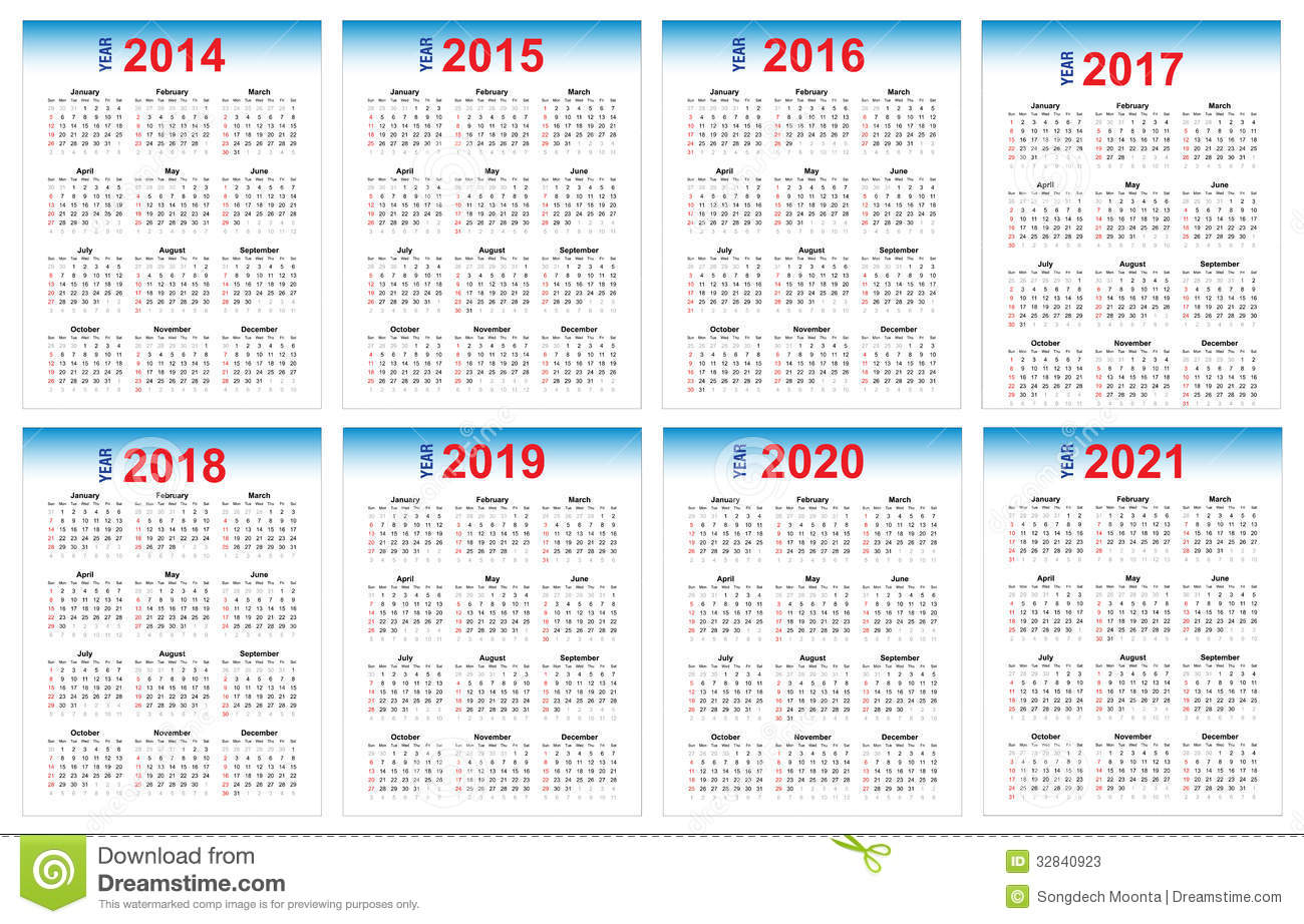 Calendar 2014-2021 Stock Vector Illustration Of 2020