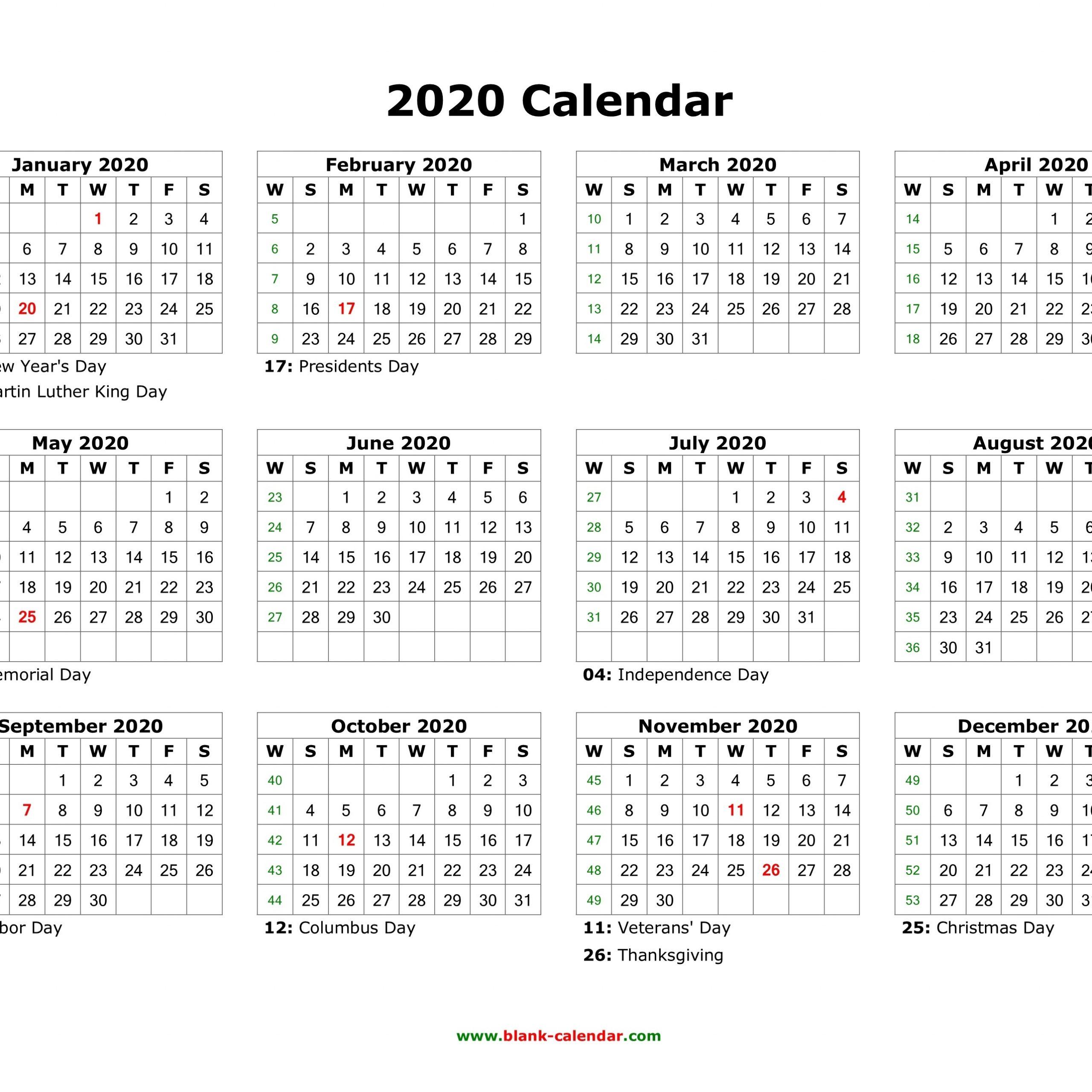 Calendar 2020 12 Month | Printable Calendar Free