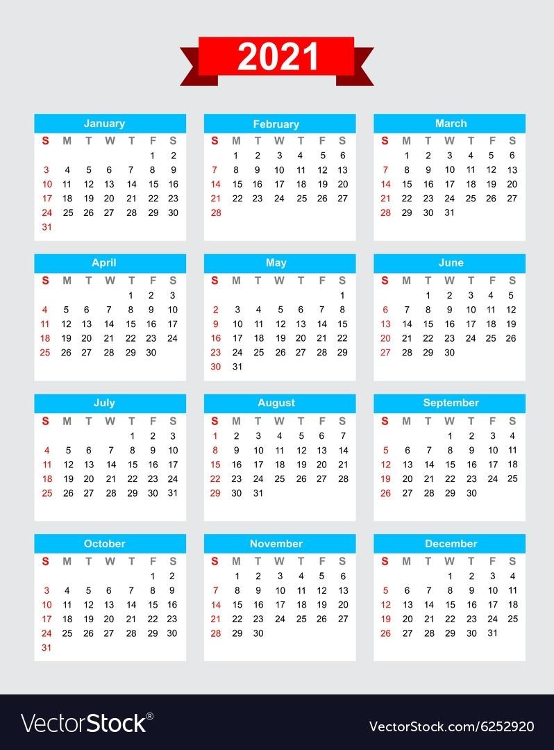 Calendar 2021 Days Numbered | Printable Calendar Template 2021