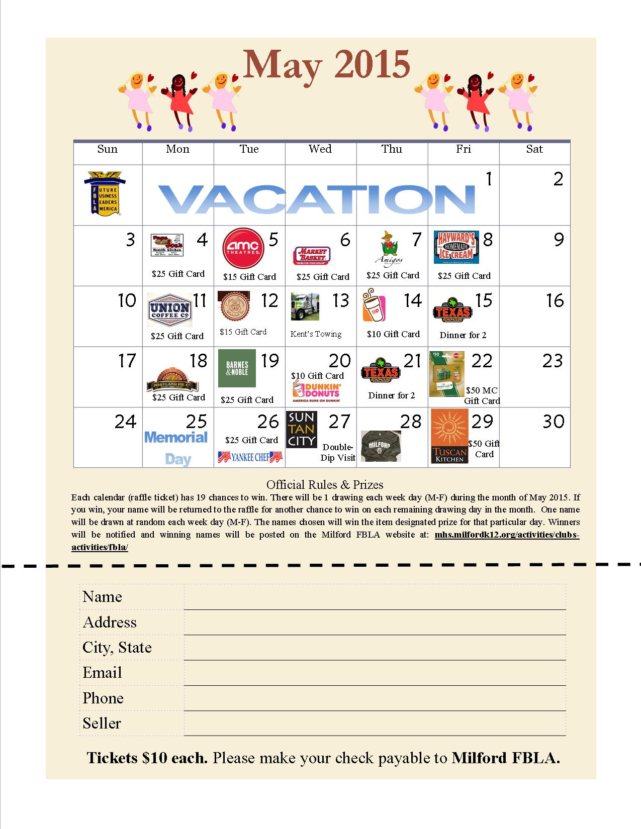 Calendar-Raffle-2015 (1275×1650) | Fundraising, Raffle