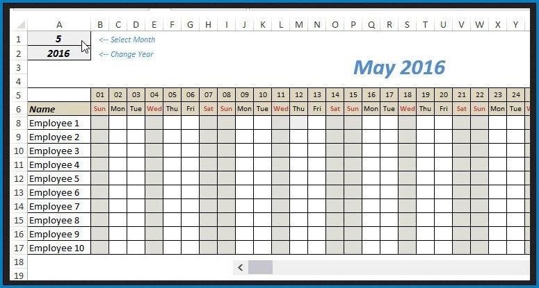 Calendar Template Format Example