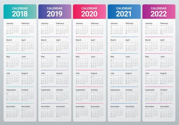 Calendario 2016 2017 2018 2019 — Vettoriali Stock