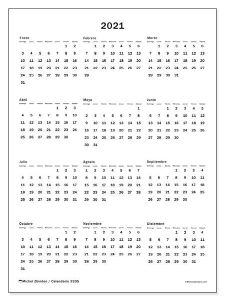 Calendario Anual 2021 - 33Ds - Michel Zbinden Es